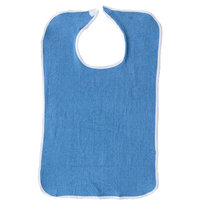 1 Pack, Adult Bib or Clothing Protector Reusable Washable Extra Long 18x36 Royal Blue with Snap Closure