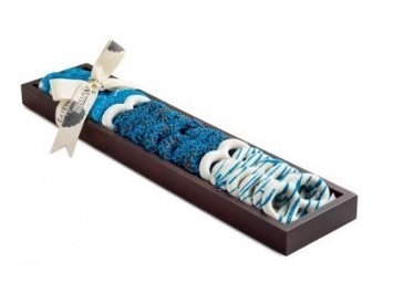 The Nuttery Ny The Nuttery Chocolate Covered Pretzels Gift Tray, (Pretzel Tray-Blue)