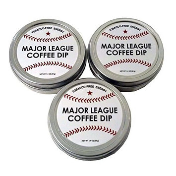 Major League Coffee Dip (Pack of 3) Quit Chewing Tin Can Non Tobacco Nicotine Free Smokeless Alternative to Chew Snuff Snus Leaf