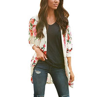 Women Kimono Cardigan Tops,Napoo Boho Print Floral Loose Shawl Kimono Cardigan Top Cover up Blouse (L, White)