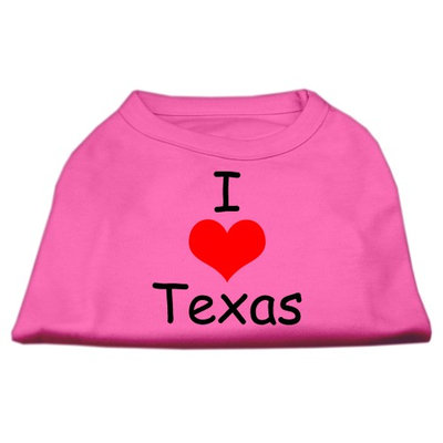 Mirage Pet Products 5138 XSBPK I Love Texas Screen Print Shirts Bright Pink XS 8