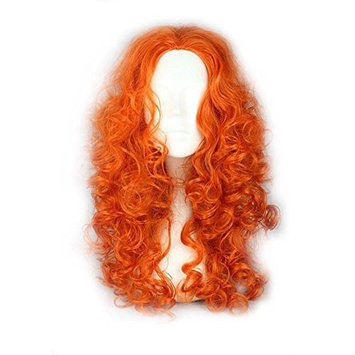 COSPLAZA Orange Long Bouncy Curly Wave Prestyled Women Kids Cosplay Wig Deluxe Disguise Wigs