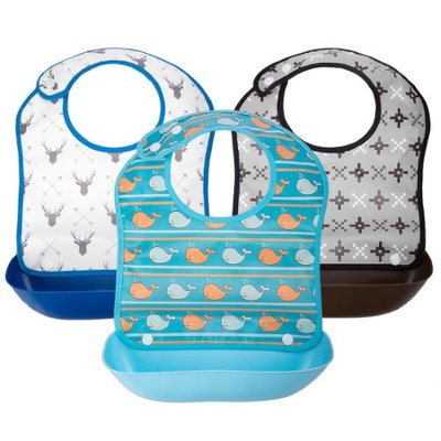 Ava & Kings 3pc Boys Foldable Waterpoof Baby Bibs With Detachable Food Catcher (Pack of 3)