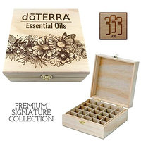 doTERRA Butterflies & Flowers - Premium Essential Oil Box 25 Slots H.E. Signature Gift Series - Holds 5-15ml Bottles - Wooden Aromatherapy Storage - Fits doTERRA, All Major Brands (Natural)