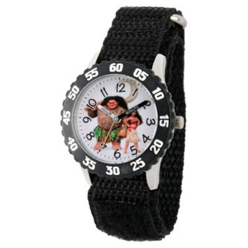 Boys' Disney Moana and Maui Stainless Steel Time Teacher Watch - Black