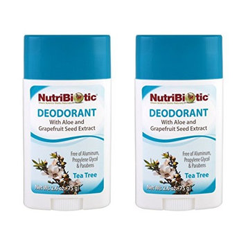 NutriBiotic Tea Tree Deodorant (Pack of 2) with Witch Hazel Extract, Grapefruit Seed Extract and Aloe Vera Gel, Vegan, Aluminum and Paraben free, 2.6 oz.