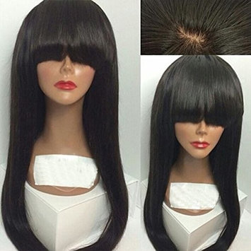 Maycaur Long Straight Wigs with Bangs Long Synthetic Wigs For Black Women