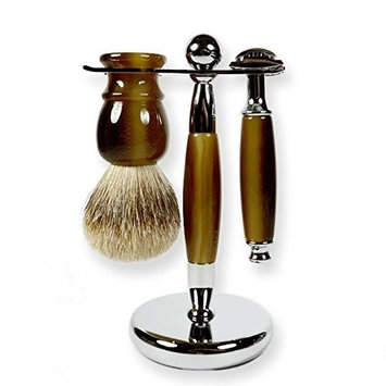 3 Piece Kaliandee Shaving Set with Silvertip Brush in Horn, Fiore Razor, and Horn & Chrome Stand