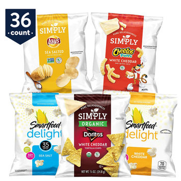 Simply & Smartfood Delights Variety Snack Pack, 36 Count