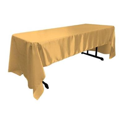 LA Linen TCbridal60X120-GoldB14 Bridal Satin Rectangular Tablecloth Gold - 60 x 120 in.