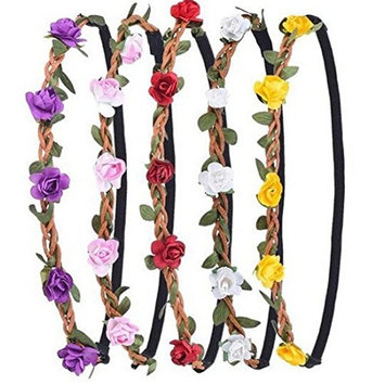 5PCS Random Color Delicate Bohemian Boho Style Daisy Hippie Flower Garland Floral Crown Headband Halo Hair Band With Elastic Ribbon For Women Girls Wedding Crown