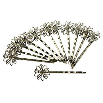 MonkeyJack 12pcs Vintage Filigree Flower Bobby Pins Retro Hair Grips Slides Clips