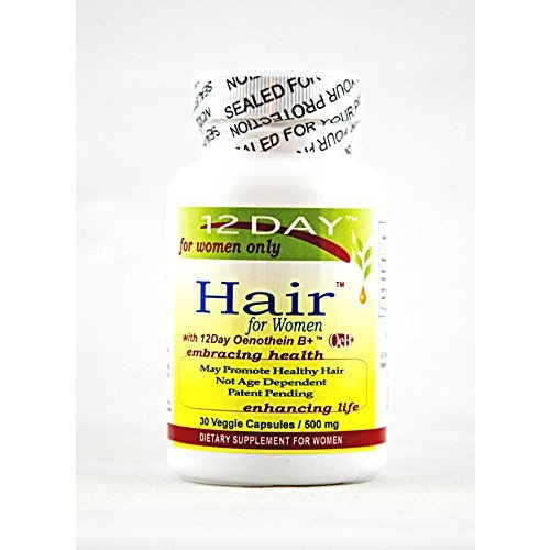 Hair Growth Vitamin Supplement for Women - Capsules, All Natural, Stimulates New Hair Growth, Strengthens Hair Follicles, Reduces Hair Loss, Blocks DHT. by 12Day