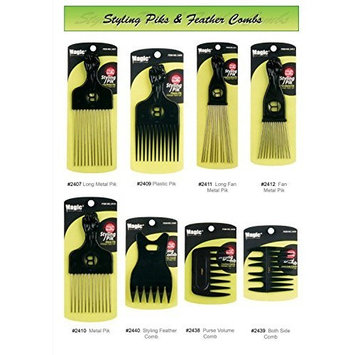 Professional Styling Combs Detangling Brushes and Afro Piks - Smooth Finish and Heat Resistant - Magic Collection (#2411 Long Fan Metal Pik) by Avany
