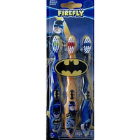 Firefly Batman Themed Toothbrushes, 3-Pack, Multicolored