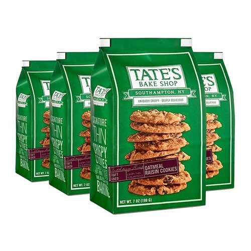 Tate's Bake Shop Oatmeal Raisin Cookies, 7 Oz Bag, 4Count [Oatmeal Raisin, Regular]
