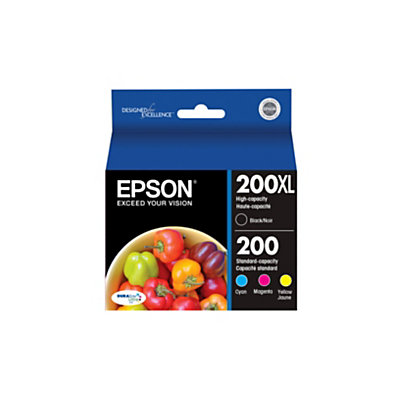 Epson(R) 200XL/200 (T200XL-BCS) DuraBrite(R) Ultra Black/Color Ink Cartridges, Pack Of 4