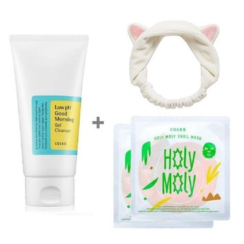 COSRX Low PH Good Morning Gel Cleanser + 3 Snail Masks + 1 Facial-Mask Headband or Etti Hair Band ( Gel Cleanser for Acne Skin / Sensitive Skin Cleanser for Normal Combination Skin) Bundle