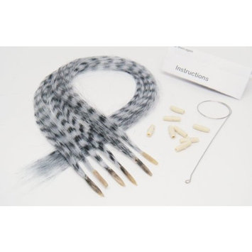 OPT Brand. Grizzly Synthetic Feather Hair Extensions Hair New Generation Beautiful White Animal Print