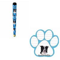 Bundle - 2 Items: Border Collie Dog Paw Magnetic Note Pad & Gel Pen