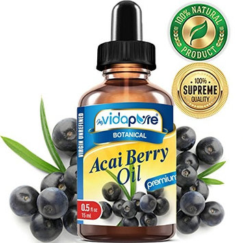 100% Pure ACAI BERRY OIL WILD GROWTH Brazilian. Virgin,Unrefined, Undiluted. 0.5 Fl.oz.- 15 ml. For Skin, Hair, Lip and Nail Care. by myVidaPure
