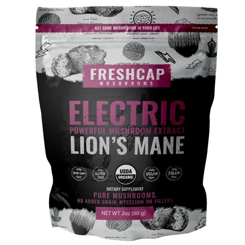 ELECTRIC - Lion's Mane Mushroom Extract Powder - USDA Organic -60 g- Supplement - Mental Clarity and Focus - Add to Coffee/Tea/Smoothies-Real Fruiting Body No Fillers