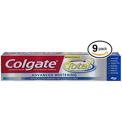 (PACK OF 9 TUBES) Colgate Total ADVANCED TOOTH WHITENING Toothpaste. Whitens & Removes Surface Stains! ANTI-CAVITY FLUORIDE, ANTI-GINGIVITIS & ANTI-PLAQUE! (Pack of 9 Tubes, 8.0oz each Tube): Health & Personal Care