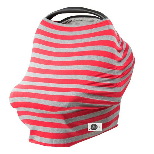 JLIKA Baby Car Seat Covers - Stretchy Infant Canopy and Nursing cover for breastfeeding newborns infants babies girls boys best shower gift maternity apron infinity scarf carseats! (Red Gray Stripe)