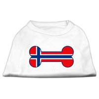 Mirage Pet Products 5119 XXLWT Bone Shaped Norway Flag Screen Print Shirts White XXL 18