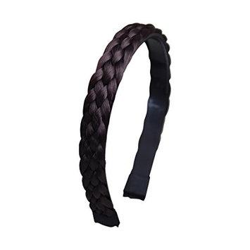 4 Strand Plait Braided Hard Headband Hair Bands - Black