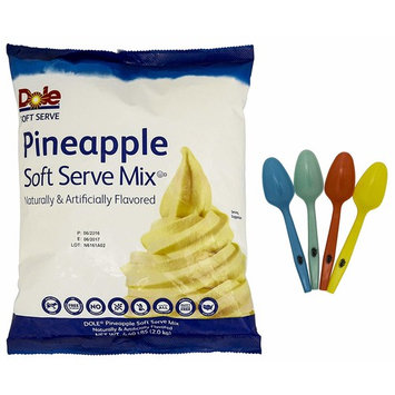 Dole Soft Serve Mix - Pineapple Dole Whip, Lactose-Free Soft Serve Ice Cream Mix, 4.40 Pound Bag - with 4 By the Cup Mood Spoons