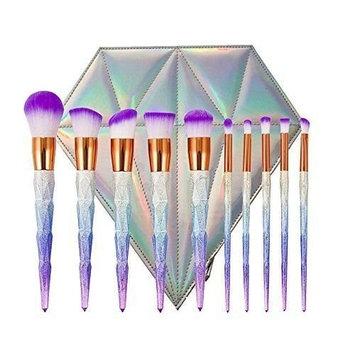 Tongsen 10 Pcs Makeup Brush Set ,Professional Makeup Brushes Set Kabuki Powder Foundation Contour Blending Eyeshadow Eyeliner Lip Brush Tool ( Diamond Bag)