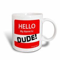 3dRose HELLO dude nametag red, Ceramic Mug, 11-ounce