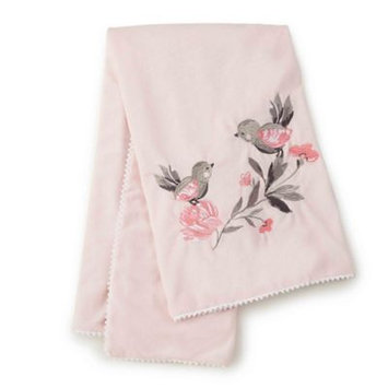 Levtex Baby Elise Pink Embroidered Birds Blanket with Pom Pom Trim
