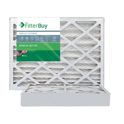 AFB Platinum MERV 13 15x25x4 Pleated AC Furnace Air Filter. Filters. 100% produced in the USA. (Pack of 2)