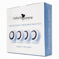 Natura Primme Facial Cleansing Replacement Brush Heads with Cap, Delicate Cleansing Brush Compatible with Mia, Mia2, Mia3 (Aria), Smart Profile, Alpha Fit, Pro, Plus and Radiance