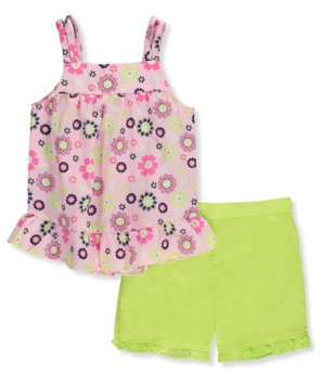 Park Bench Kids Little Girls' Toddler 2-Piece Outfit (Sizes 2T - 4T) - lime/multi, 3t