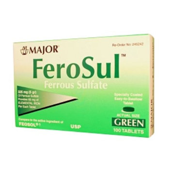 MAJOR FEROSUL 325MG (5GR) GREEN FERROUS SULFATE-325 MG Green 100 TABLETS UPC