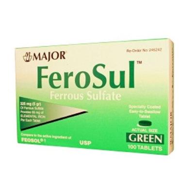 MAJOR FEROSUL 325MG (5GR) GREEN FERROUS SULFATE-325 MG Green 100 TABLETS UPC