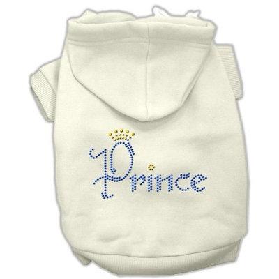 Mirage Pet Products Prince Rhinestone Hoodies, Size 16, Cream