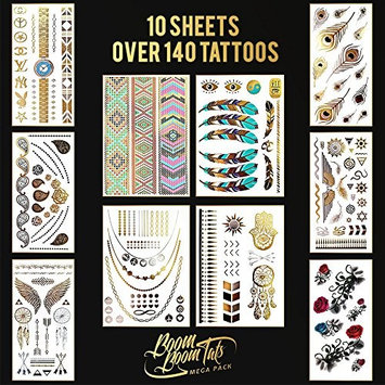 Flash Tattoos - Over 140 Temporary Tattoos for Women & Girls. Metallic Tattoos in Gold Silver Black & Other Colors. Includes 10 Sheets of Premium Fashion Tattoos.