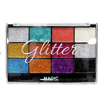 MAGIC COLLECTION GLITTER EYESHADOW PALETTE 12 COLORS LONG LASTING (TYPE A)