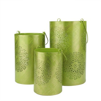 Northlight Set of 3 Green and Gold Decorative Floral Cut-Out Pillar Candle Lanterns 10