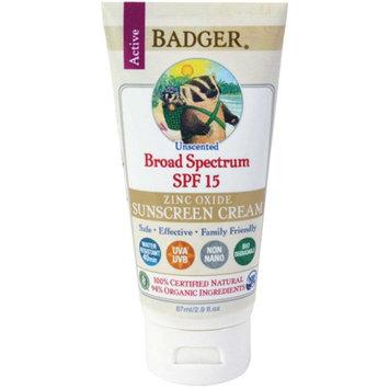 Badger Zinc Oxide Sunscreen Cream SPF 15 Unscented 2.9 oz.