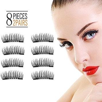 3D Magnetic Eyelashes Reusable False Magnet Fake Eyelashes For Women Makeup Natural Look No Glue (8 Pcs) (01- Double)