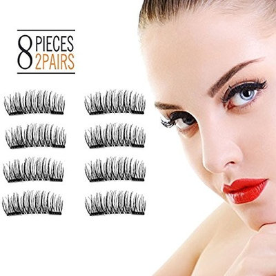 3D Magnetic Eyelashes Reusable False Magnet Fake Eyelashes For Women Makeup Natural Look No Glue (8 Pcs) (01- Double)