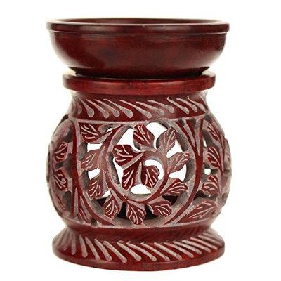Oil Diffuser - Red Soapstone Oil Burner Round leaves 4