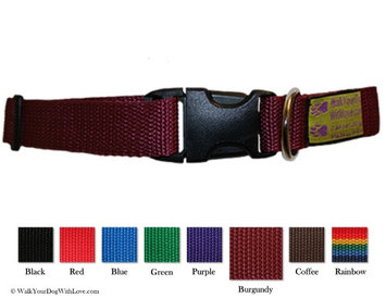Walk Your Dog With Love Colorful Quality Dog Collars, Original Edition, Sizes For Any Dog, Burgundy Wine