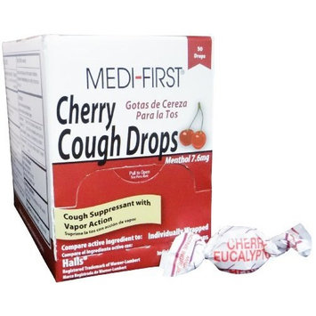 Medi-First Cherry Cough Drops Cold & Allergy Relief (50 Per Box) 6 Boxes by Medique MS75889