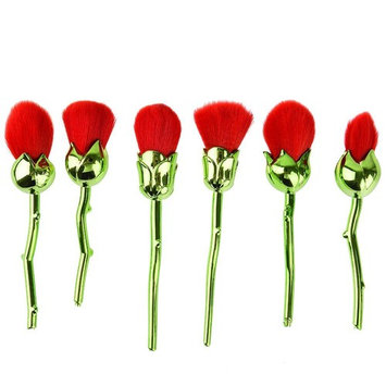 Pretty See Professional Makeup Brush Set Soft Face Powder Foundation Brush with Rose Shape Handle, Set of 6, Green